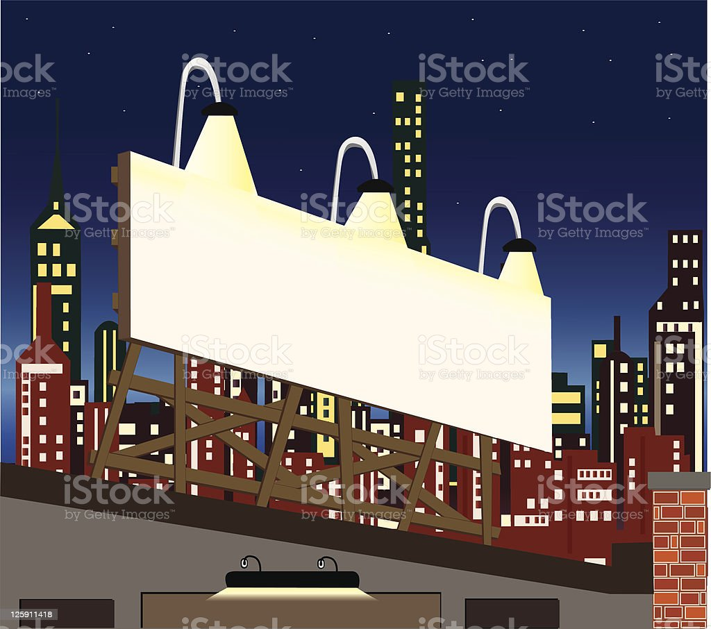 Nighttime Billboard royalty-free stock vector art