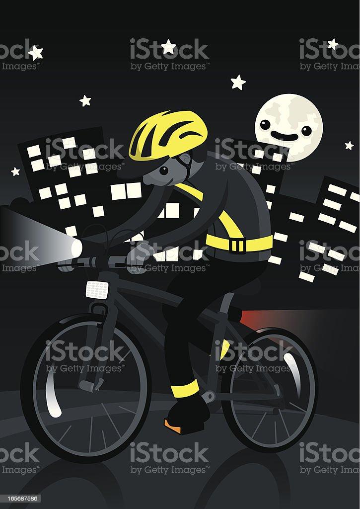 Nighttime Cyclist vector art illustration