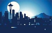 Nighttime image of Seattle skyline
