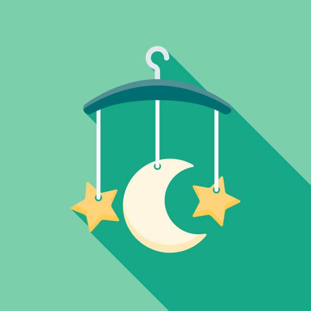 ilustrações, clipart, desenhos animados e ícones de ícone de bebê design plano móvel noturno - mobile