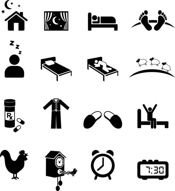 Nighttime sleep black and white royalty free vector icon set Nighttime sleep black and white set bedroom symbols stock illustrations