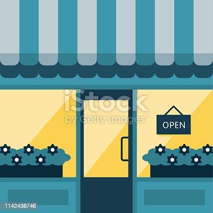 istock Nighttime Storefront Illustration 1142436746
