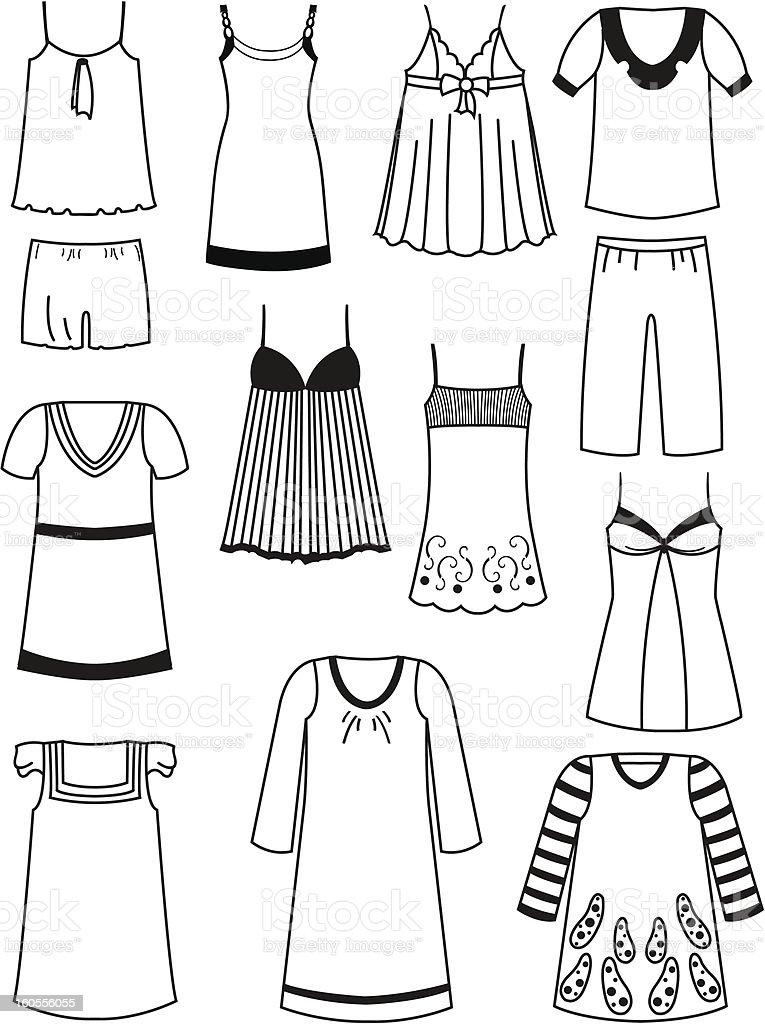 Nightwear vector art illustration