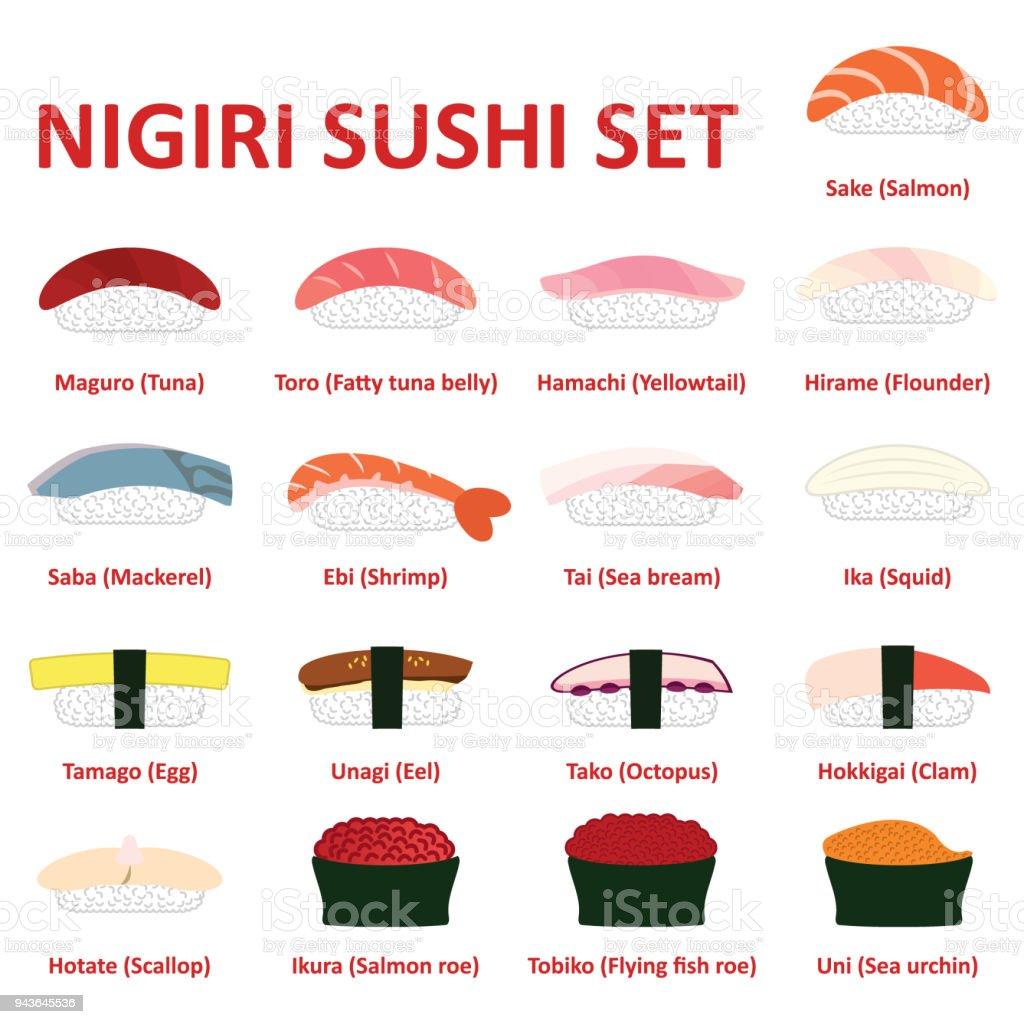 にぎり寿司アイコンを設定。日本の料理。ベクトル。 ベクターアートイラスト