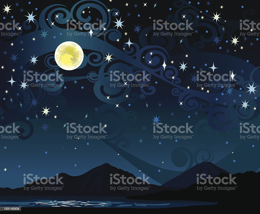 Nigth sky with full moon, mounains and lake vector art illustration