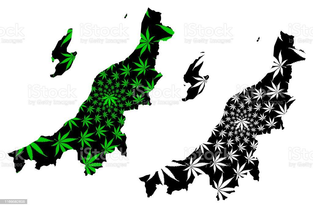 新潟県の葉で作られた新潟地図 アジア大陸のベクターアート