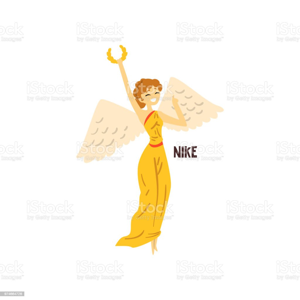 ナイキ オリンピアのギリシャの女神は古代ギリシャ神話の文字ベクトル