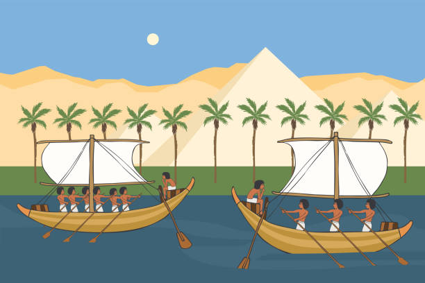 Nile river of Ancient Egypt with sailboats vector cartoon Nile river of Ancient Egypt with sailboats, vector  cartoon illustration of sailing history ancient egyptian culture stock illustrations