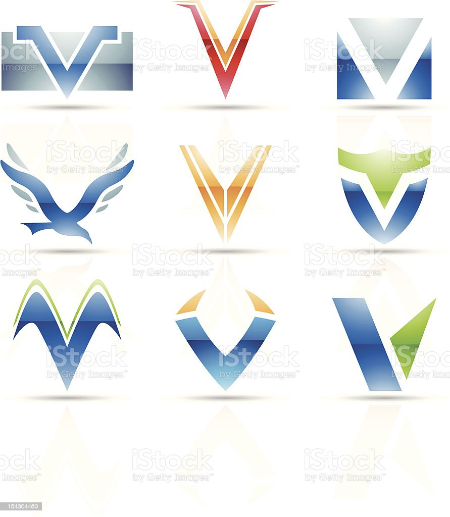 Nine abstract icons for the letter V royalty-free stock vector art