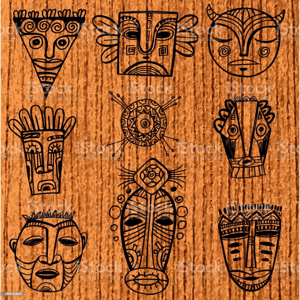 Nine African masks centered around an African style circle vector art illustration