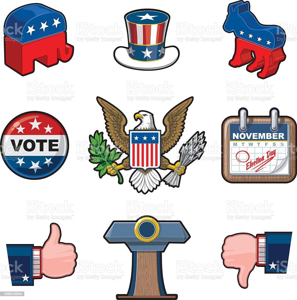Nine American Elections Icons vector art illustration