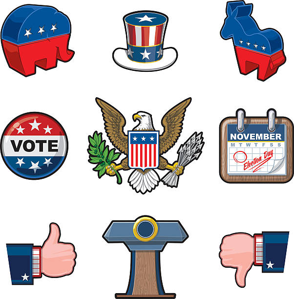 nine american elections icons - abd başkanı stock illustrations