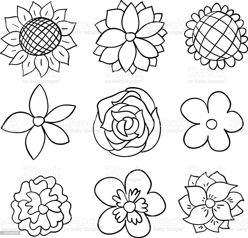 Nine Black And White Cartoon Flowers Royalty Free Stock