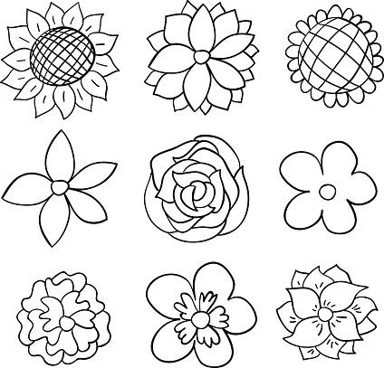 Nine black and white cartoon flowers