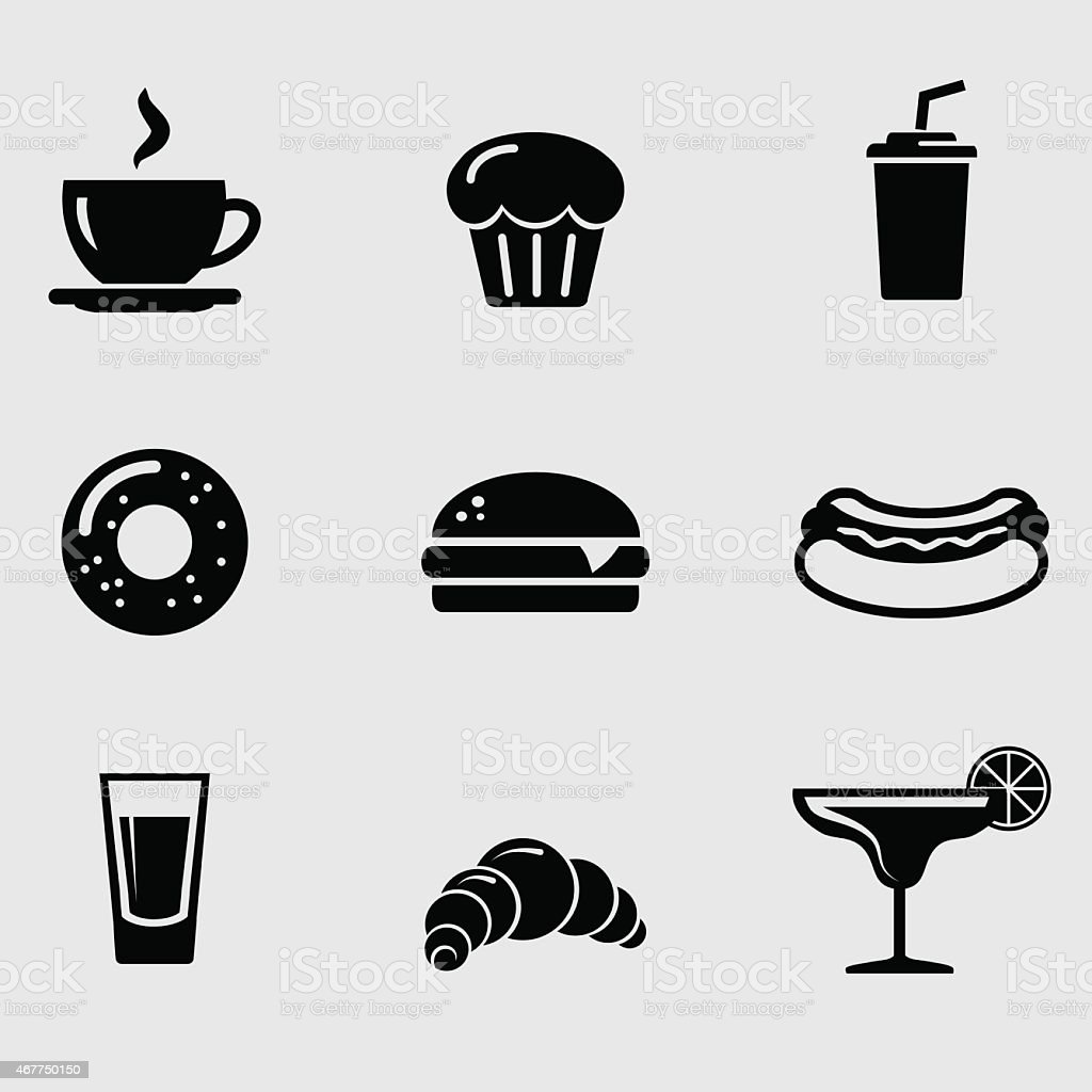 Nine black and white illustrated food and drink icons vector art illustration