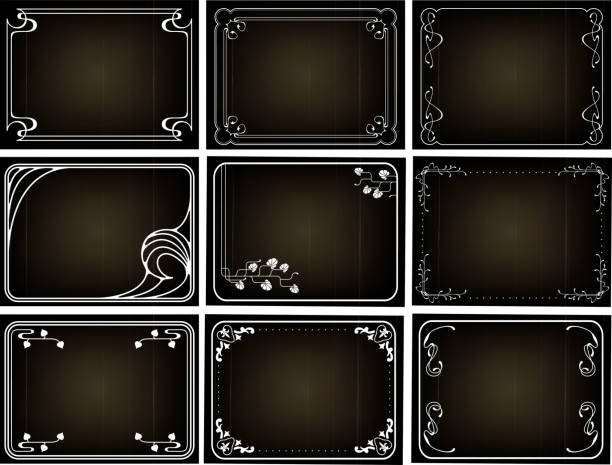 nine black squares with white borders typically seen in film - 1920s style stock illustrations, clip art, cartoons, & icons