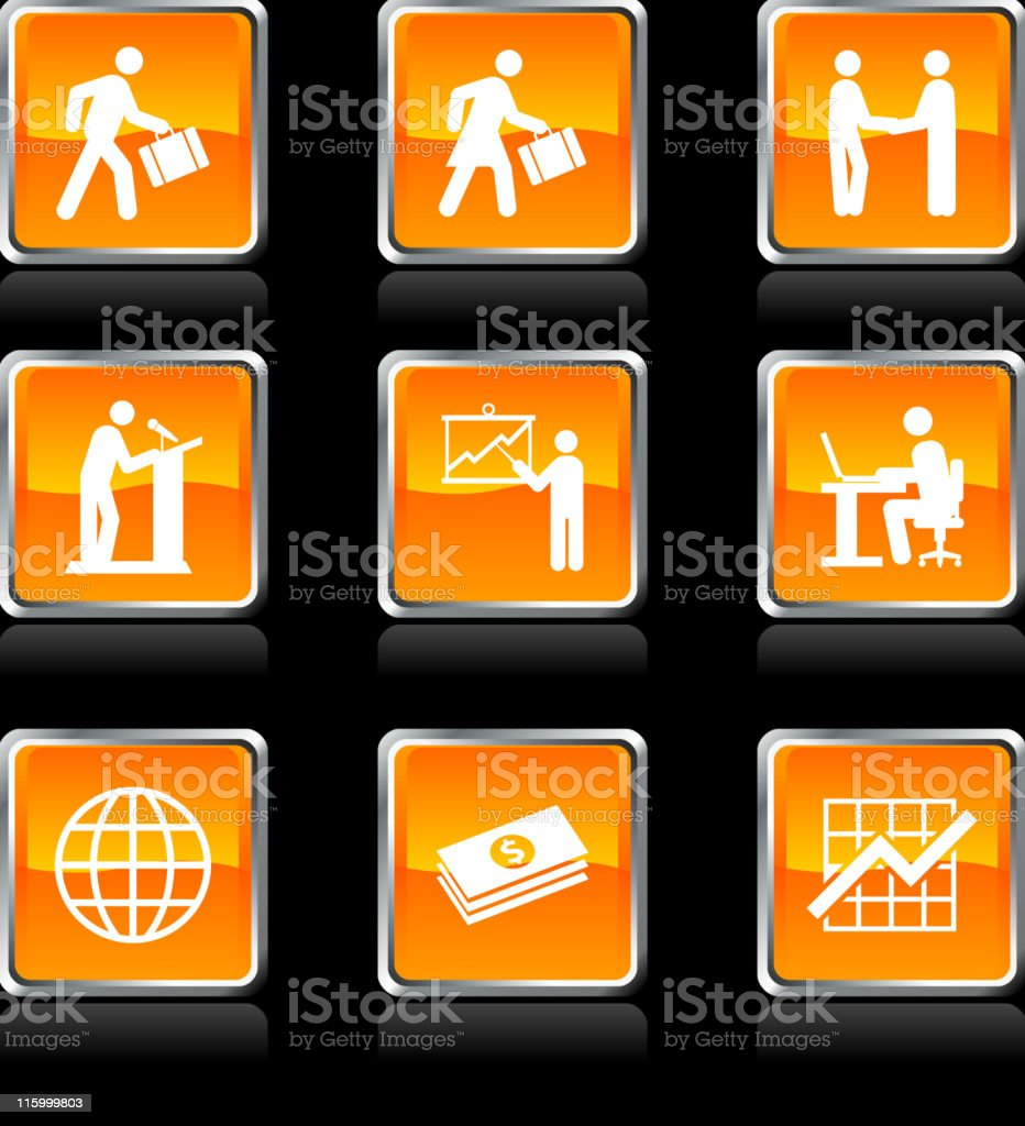 Nine business icons on black background royalty-free stock vector art