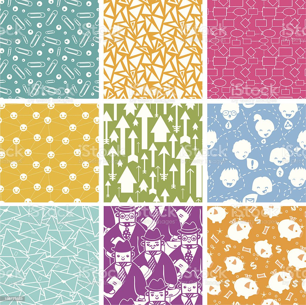 Nine Business Office Seamless Patterns Set royalty-free stock vector art