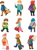 Nine cartoons of people travelling with bags