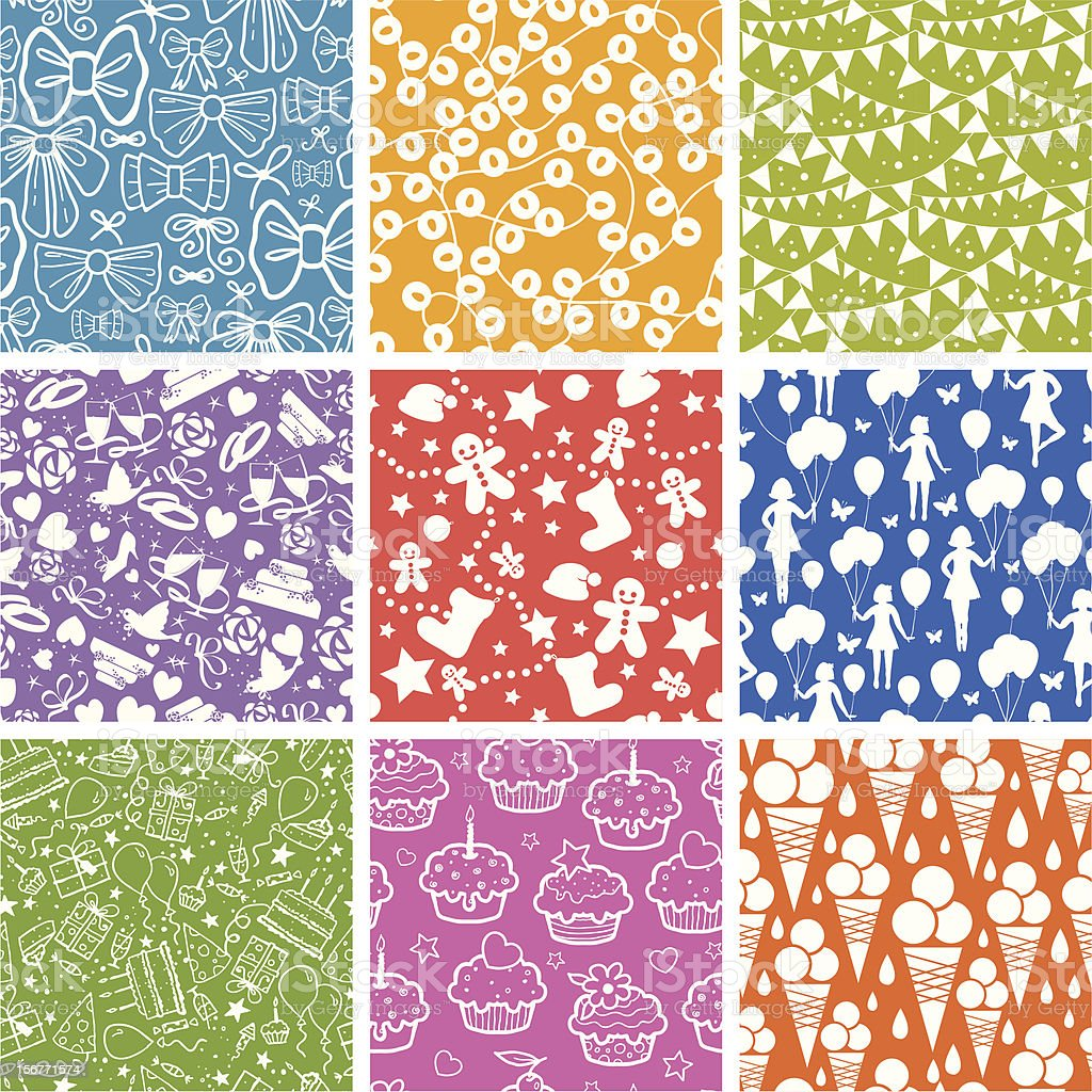 Nine Celebration Seamless Patterns Set royalty-free stock vector art