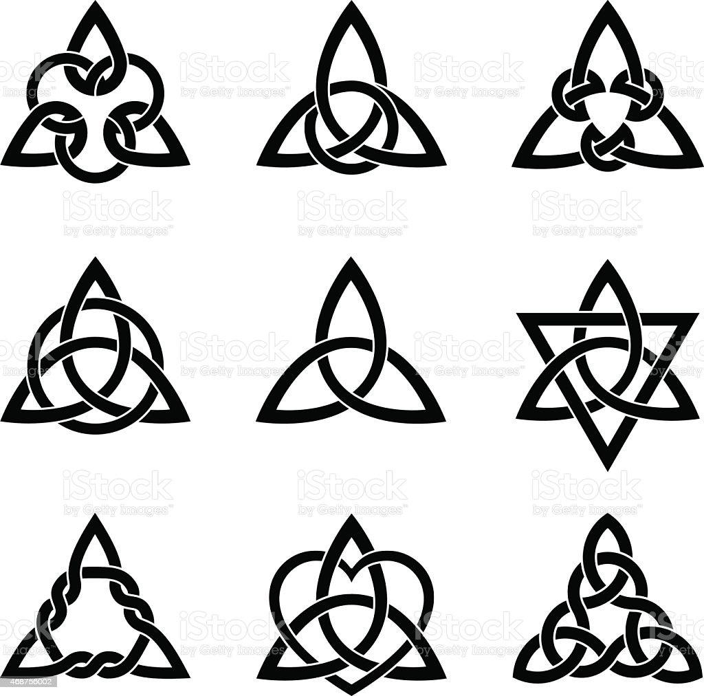Nine Celtic Triangle Knots vector art illustration