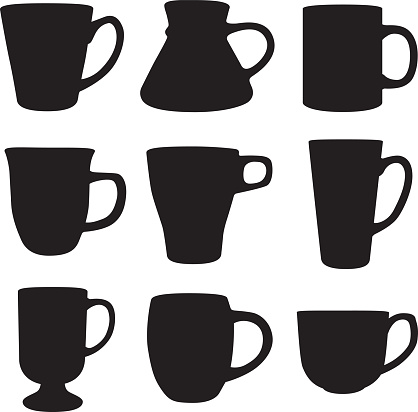 Nine Coffee Mug Silhouettes