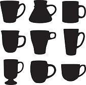 Vector silhouettes of nine coffee mugs.