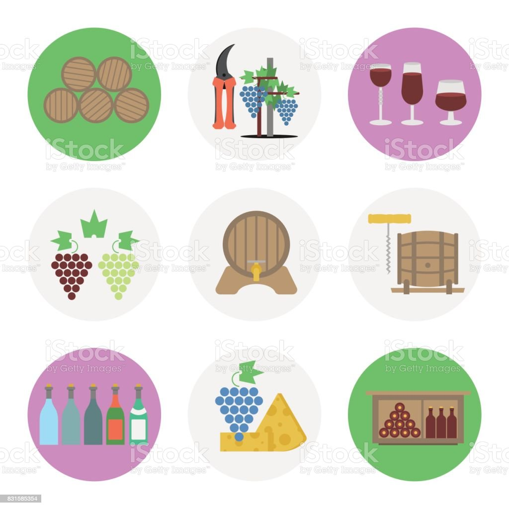 Nine color flat icon set - wine production vector art illustration