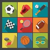 Nine color sports icons set on a tick, tad, toe, grid