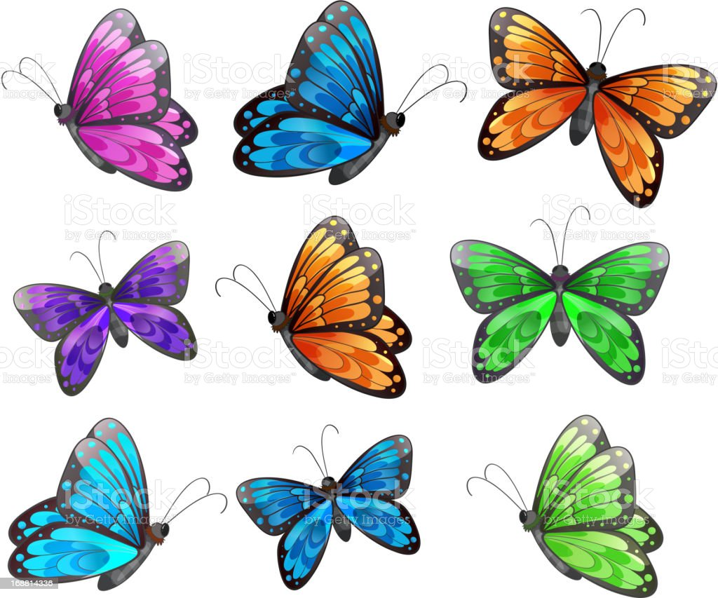 Nine colorful butterflies royalty-free stock vector art