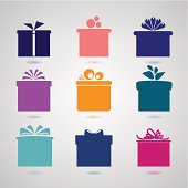 Nine colorful icons of gift boxes on light background.