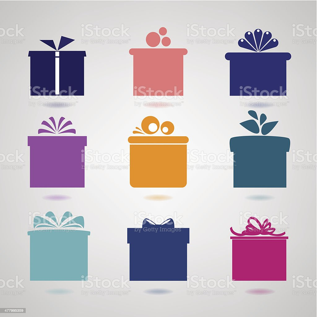 Nine colorful icons of gift boxes on light background. vector art illustration
