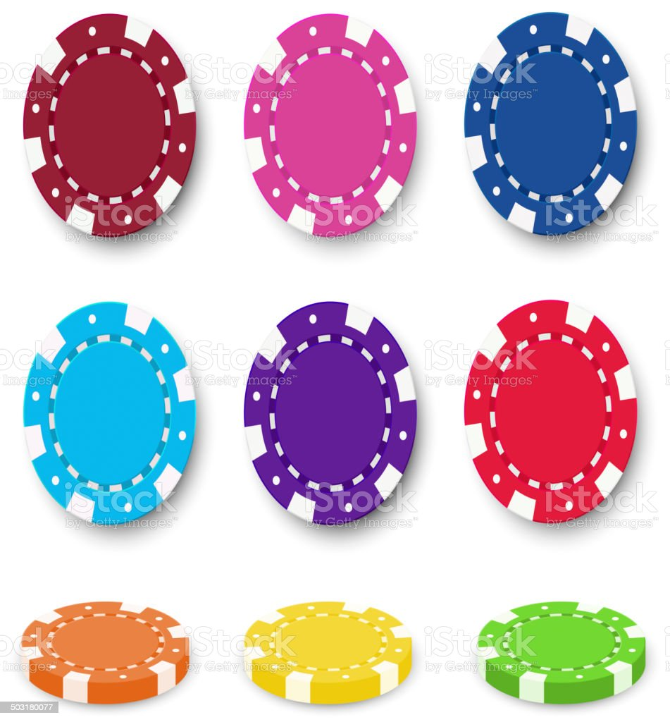 Nine colorful poker chips vector art illustration