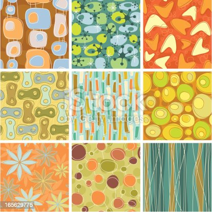 istock Nine colorful retro patterns with a white border 165629775