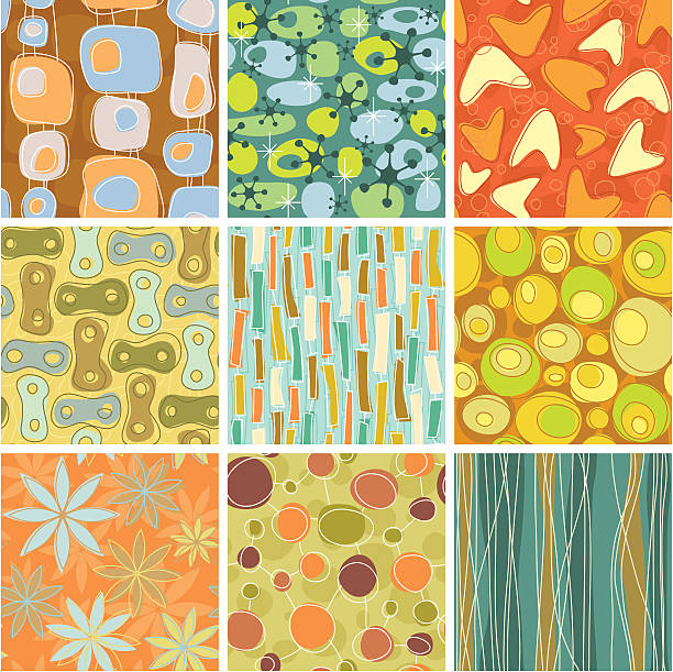 nine colorful retro patterns with a white border - 1960s style stock illustrations, clip art, cartoons, & icons