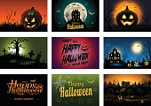 Nine creepy Halloween greeting card party invitation