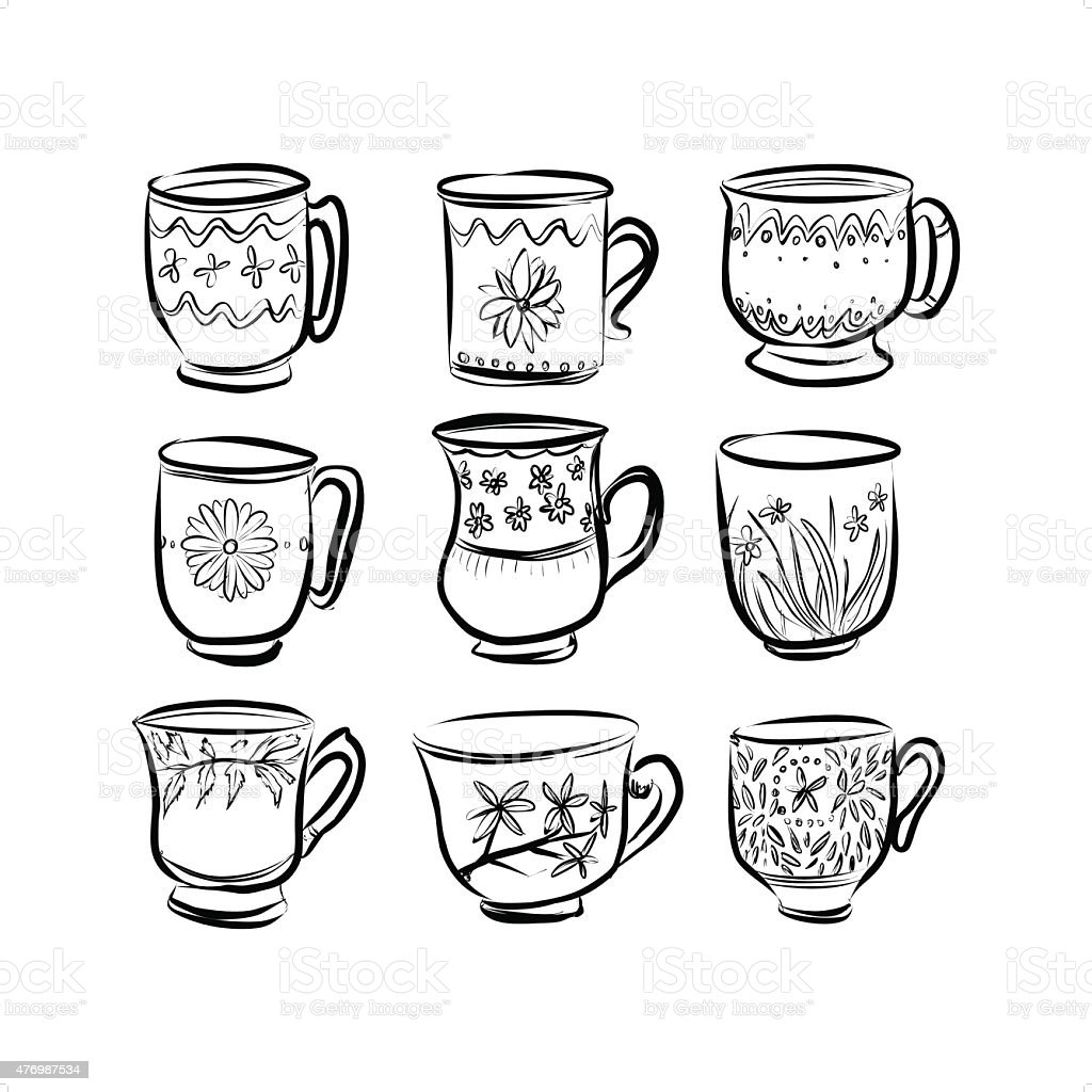 Nine cups drawing in black and white stock vector art for Black and white only