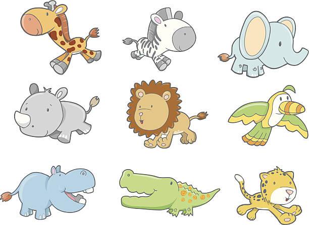 Nine Cute Safari Animals vector art illustration