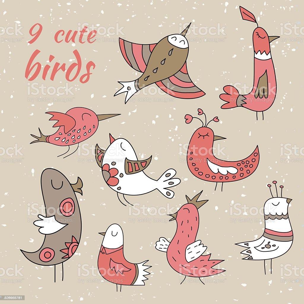 9 つのかわいい冬の鳥 のイラスト素材 526955781   istock