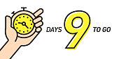 Nine Days Left Countdown Vector Illustration Template