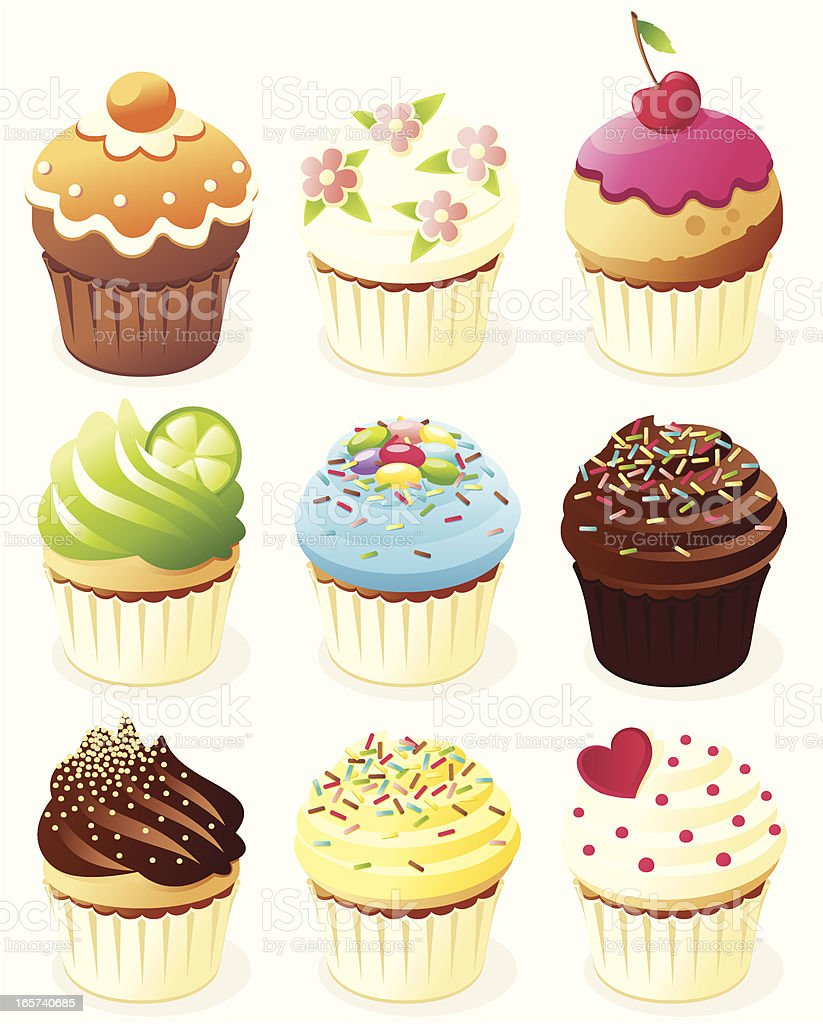 Nine different animated cupcakes royalty-free stock vector art