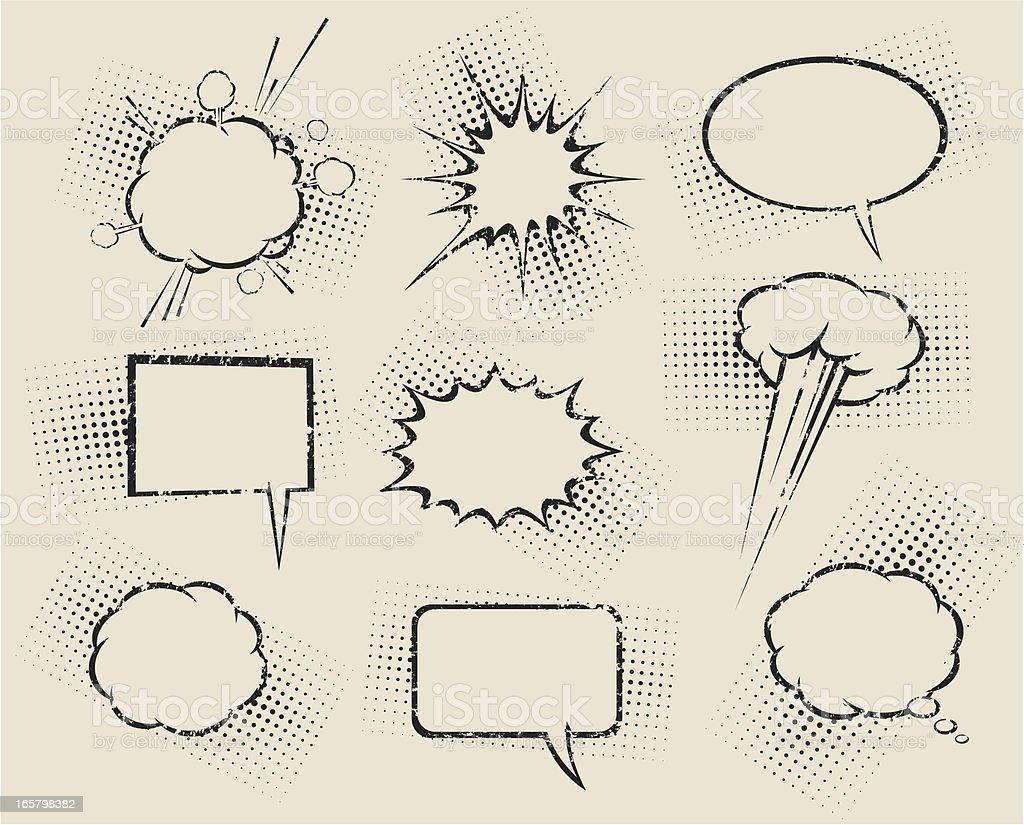 Nine different cartoon speech bubbles royalty-free stock vector art