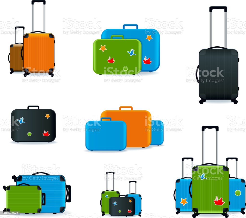 Nine different colored and shaped suitcases vector art illustration
