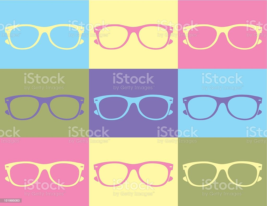 Nine different icons of different pairs of glasses  royalty-free stock vector art