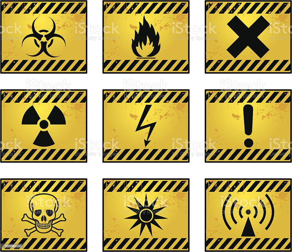 Nine different yellow and black hazard signs vector art illustration