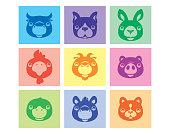vector illustration of nine domestic animals icons