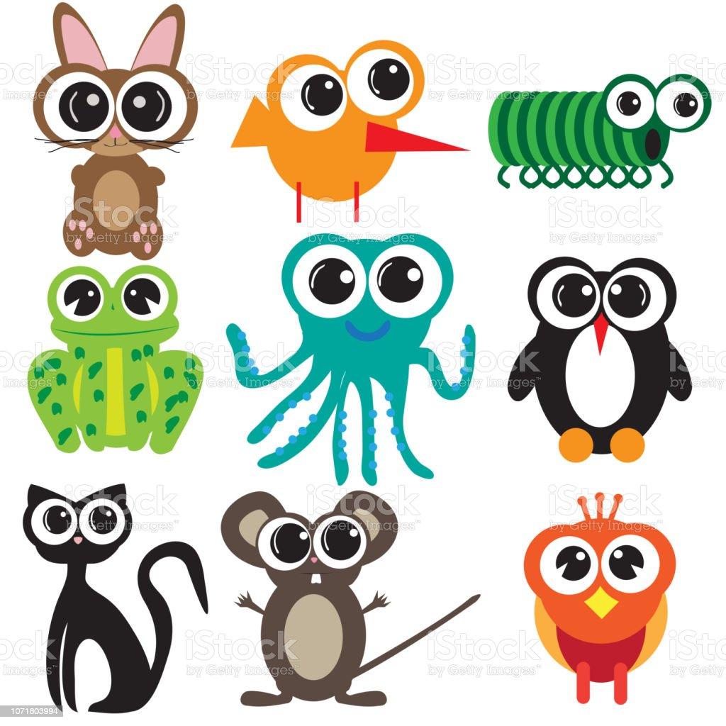 Ilustración De Nueve Animales De Diseño Plano Dibujos