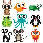 Nine flat design animals, cartoon with big eyes vector design