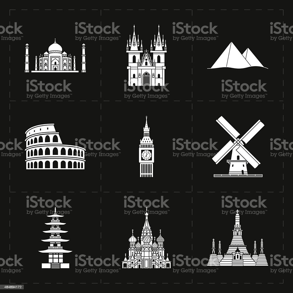 nine flat landmark icons vector art illustration