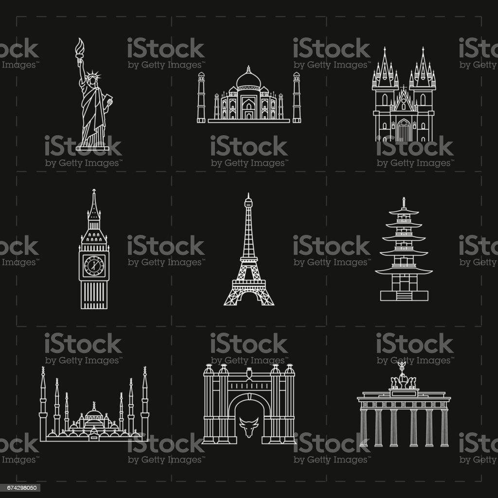 Neun Wahrzeichen flach Symbole – Vektorgrafik
